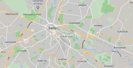 Areas covered by our driving school in Derby